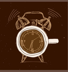 Alarm clock and coffee doodle concept vector
