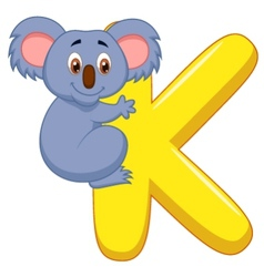 Alphabet K with Koala cartoon vector image vector image