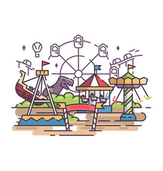 Amusement park with swing and ferris wheel vector