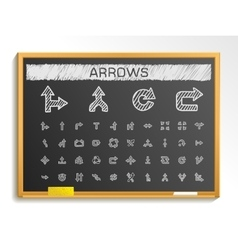 Arrows hand drawing line icons chalk sketch signs vector image vector image