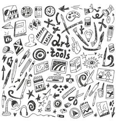 art tools - doodles set vector image vector image