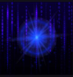 Blue binary computer code background cyber future vector