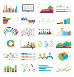 Business data market charts diagrams and graphs vector