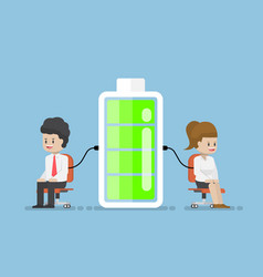 Businessman character charging energy power from vector