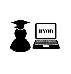 Byod black and white icons vector