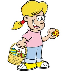 Cartoon Girl on an Easter Egg Hunt vector image