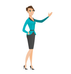 Caucasian business woman showing a direction vector