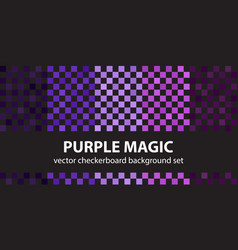 Checkerboard pattern set purple magic seamless vector