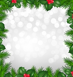 Christmas silver border from holly berry vector
