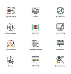 colored icons of internet and digital marketing vector image