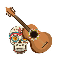 Colorful acoustic guitar musical with decorative vector