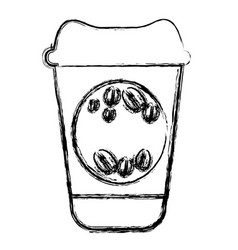 Contour coffee drink food icon vector