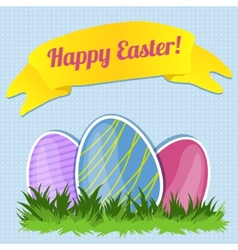 Decorative card with colorful Easter eggs vector image