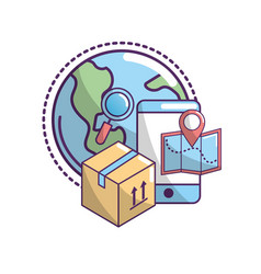 delivery transportation service to package order vector image