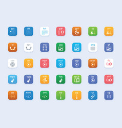 File types icon set vector