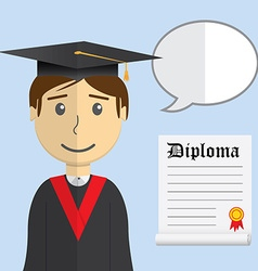 Flat design modern of student in graduation gown vector image vector image