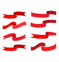 flat ribbon red set vector image vector image