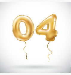 Golden number 04 zero four metallic balloon party vector