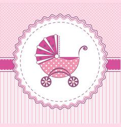 label stroller pink vector image vector image