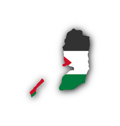 Map and flag of palestine vector