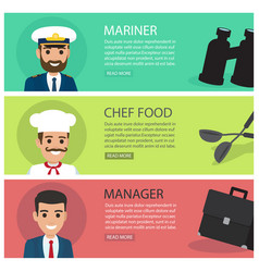 People professions fat web banners set vector