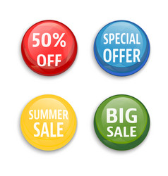 sale buttons set isolated vector image