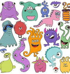 Set Of Isolated Cartoon Monsters vector image