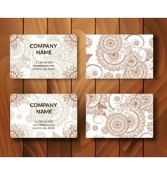 Vintage business cards set vector image