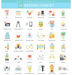 Wedding color flat icon set elegant style vector
