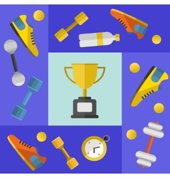 Winner cup with sports equipment banner vector image vector image