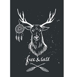 with deer and dream catcher on the chalkboard vector image