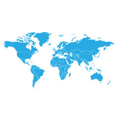 World map in blue color on white background high vector