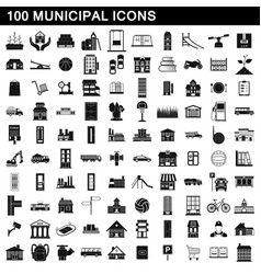 100 municipal icons set simple style vector
