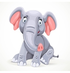 Cute little elephant sitting isolated on white vector