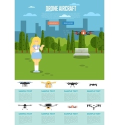 Drone aircraft website template with flying robot vector