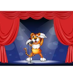 Cartoon Performing Tiger vector image
