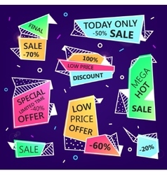 Set of sale origami outline banners with vector