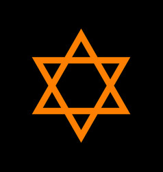 shield magen david star symbol of israel orange vector image
