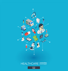 healthcare integrated 3d web icons digital vector image