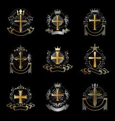Crosses religious emblems set heraldic coat of vector