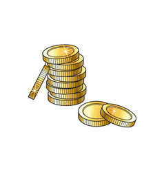 Stack of gold coins sketch vector