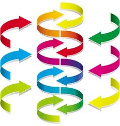 Volumetric colorful rotating arrows vector