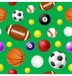 Sports ball seamless pattern on green background vector