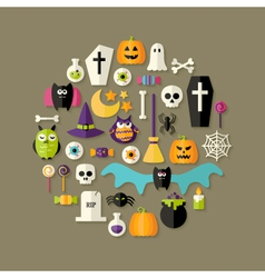 Halloween flat icons set over dark brown vector