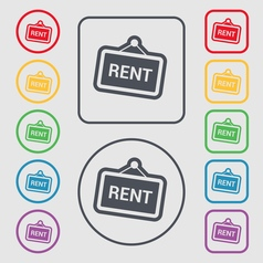 Rent icon sign symbol on the round and square vector