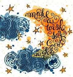Romantic quote make a wish say good night vector