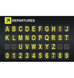 Alphabet in airport arrival and departure display vector