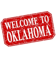 Welcome to oklahoma red square grunge stamp vector