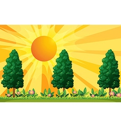 Scene with trees and flowers in garden vector