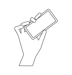 Cell phone in hand icon outline style vector